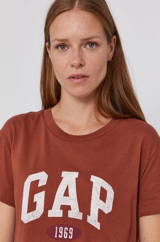 kawowy GAP - T-shirt bawełniany