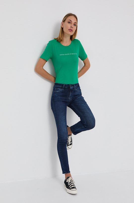 United Colors of Benetton - T-shirt bawełniany jasny zielony