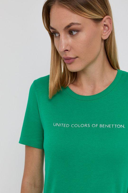 jasny zielony United Colors of Benetton - T-shirt bawełniany