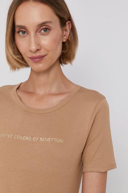 piaskowy United Colors of Benetton - T-shirt bawełniany Damski
