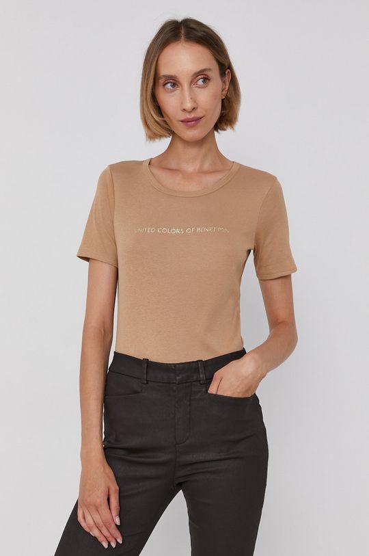 piaskowy United Colors of Benetton - T-shirt bawełniany