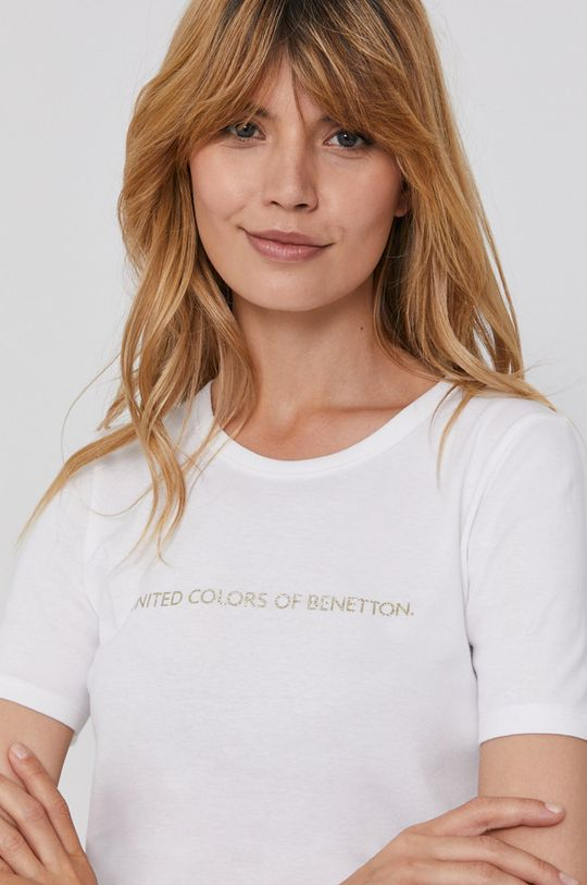 biały United Colors of Benetton - T-shirt bawełniany Damski