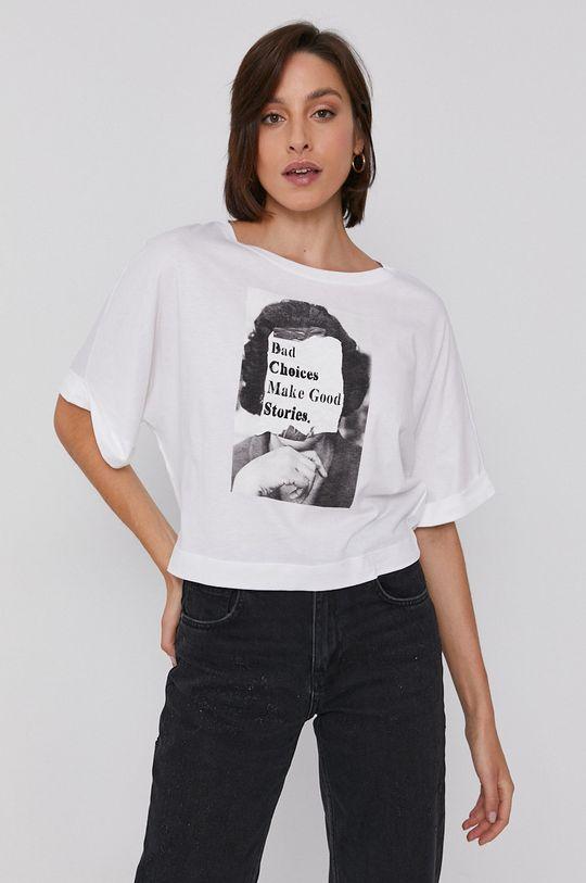 biały Sisley - T-shirt bawełniany Damski