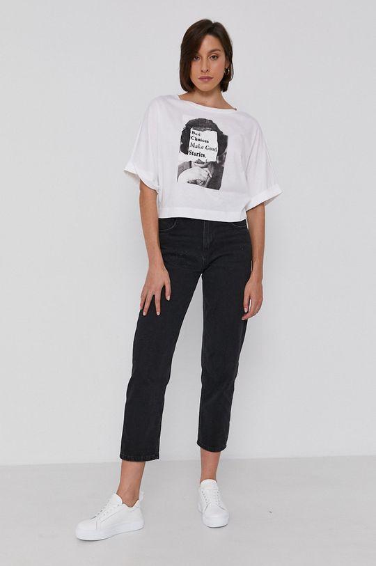 Sisley - T-shirt bawełniany biały