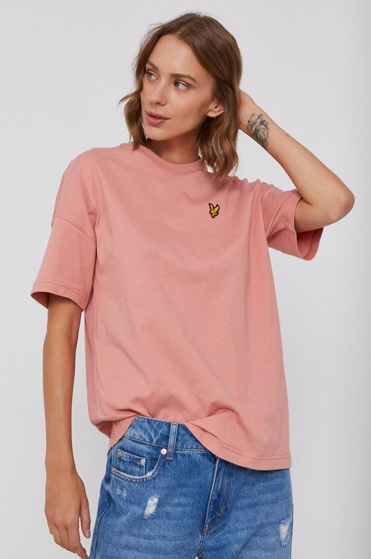 brudny róż Lyle & Scott - T-shirt bawełniany Damski