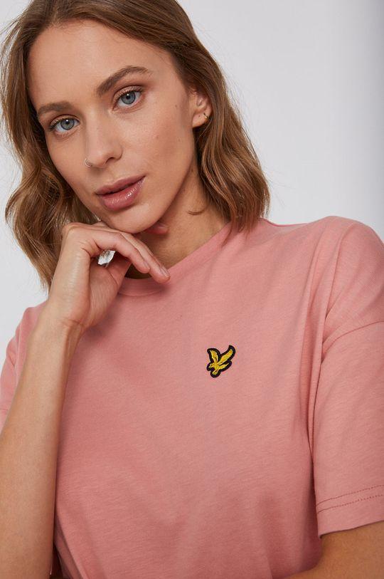brudny róż Lyle & Scott - T-shirt bawełniany