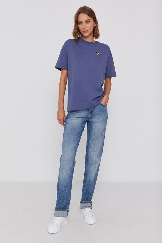 Lyle & Scott - T-shirt bawełniany fioletowy