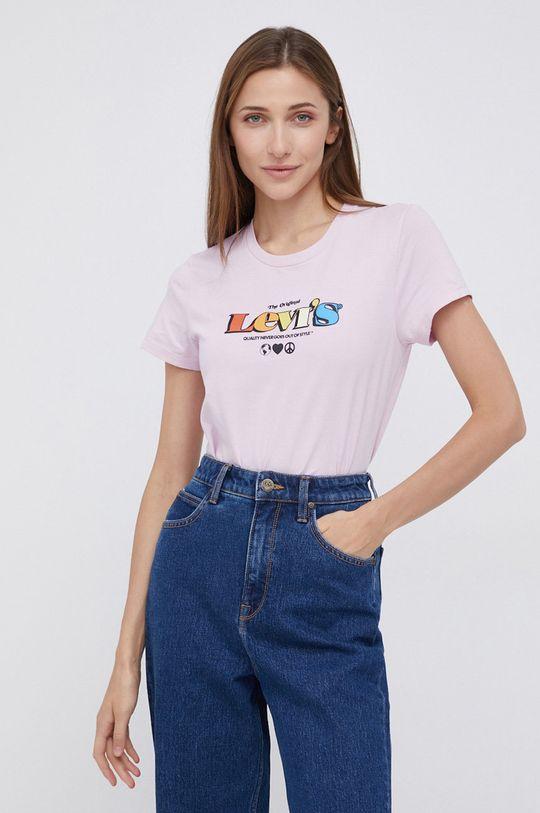 różowy Levi's - T-shirt bawełniany Damski