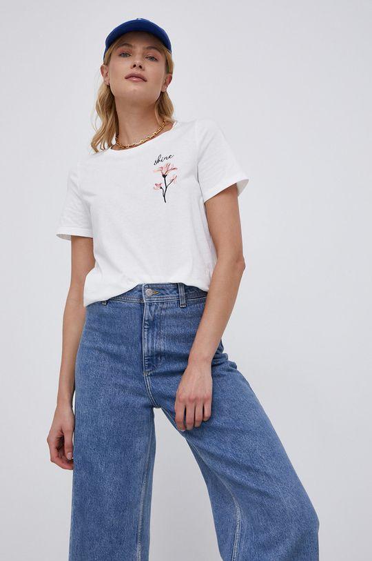 biały Vila - T-shirt Damski