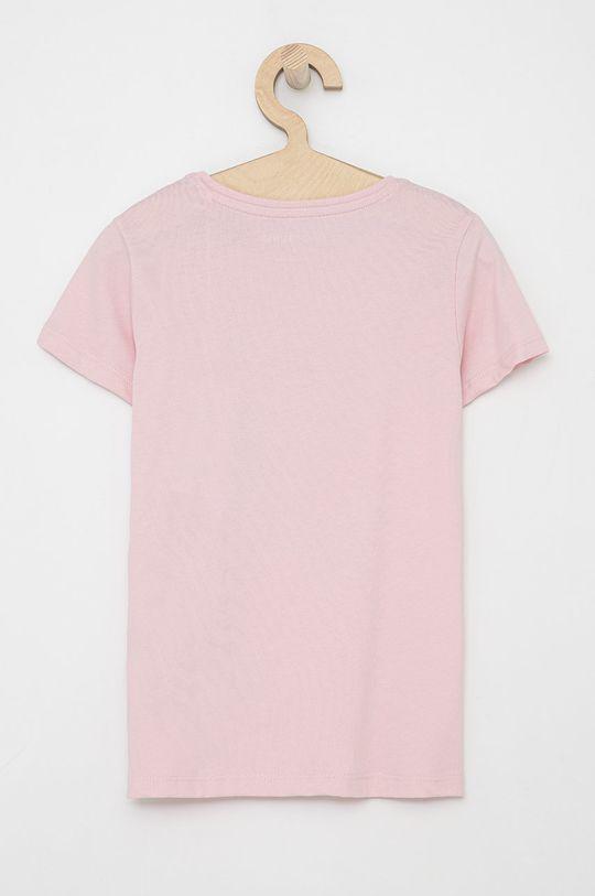 Guess - T-shirt bawełniany dziecięcy różowy