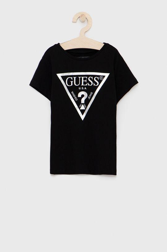 czarny Guess - T-shirt bawełniany dziecięcy Dziewczęcy