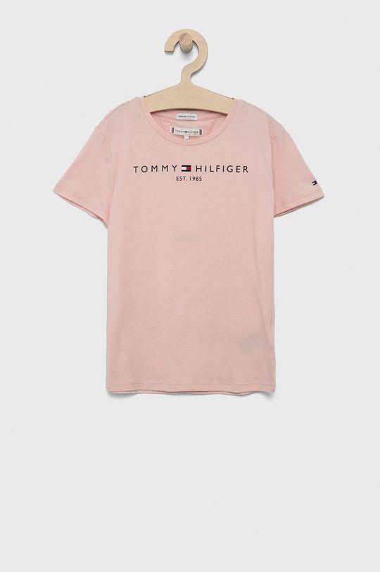 różowy Tommy Hilfiger - T-shirt bawełniany dziecięcy Dziewczęcy