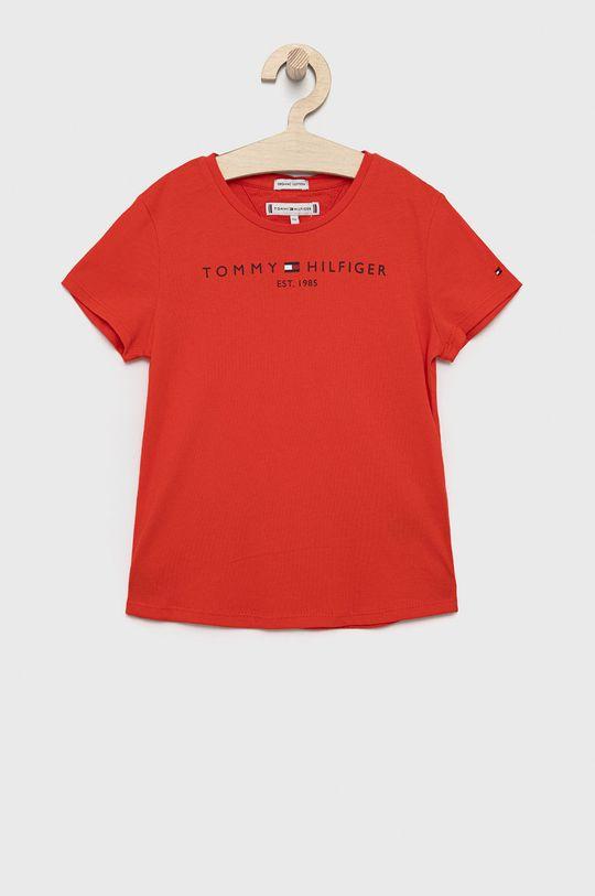 czerwony Tommy Hilfiger - T-shirt bawełniany dziecięcy Dziewczęcy