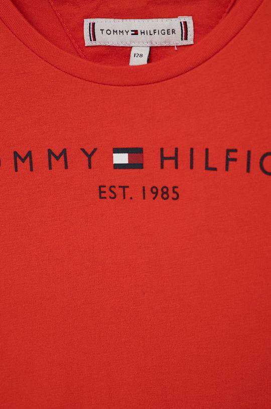 Tommy Hilfiger - T-shirt bawełniany dziecięcy czerwony