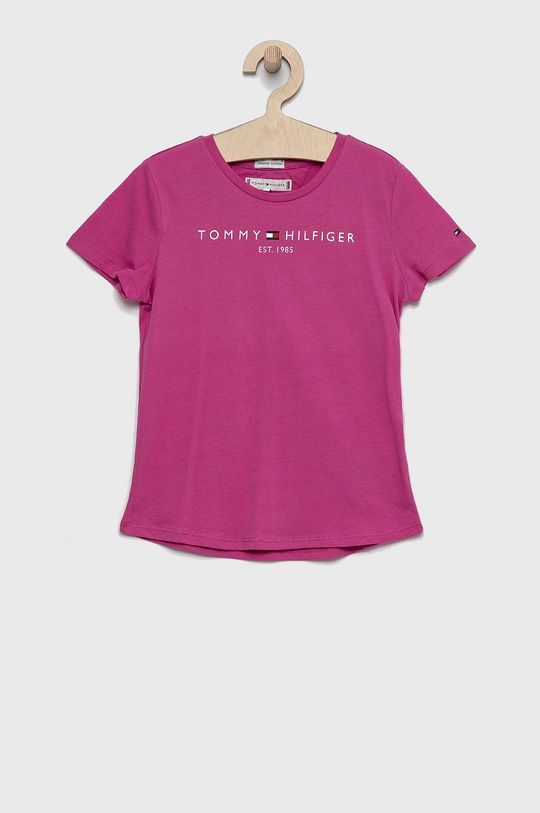 fuksja Tommy Hilfiger - T-shirt bawełniany dziecięcy Dziewczęcy