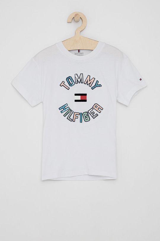biały Tommy Hilfiger - T-shirt bawełniany dziecięcy Dziewczęcy