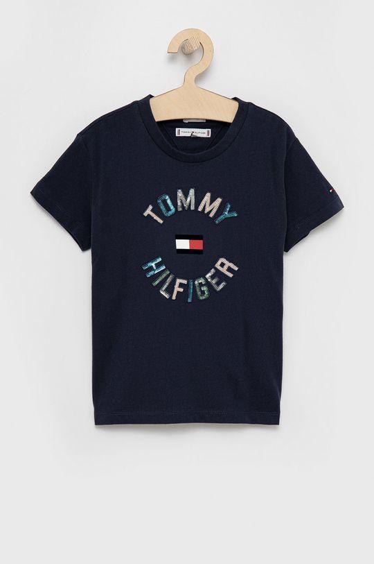 granatowy Tommy Hilfiger - T-shirt bawełniany dziecięcy Dziewczęcy