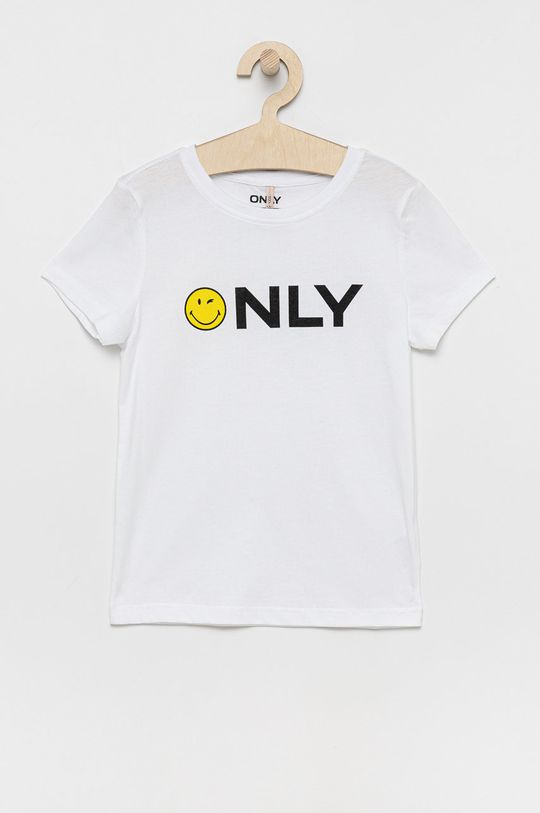 alb Kids Only - Tricou de bumbac pentru copii x Smiley De fete