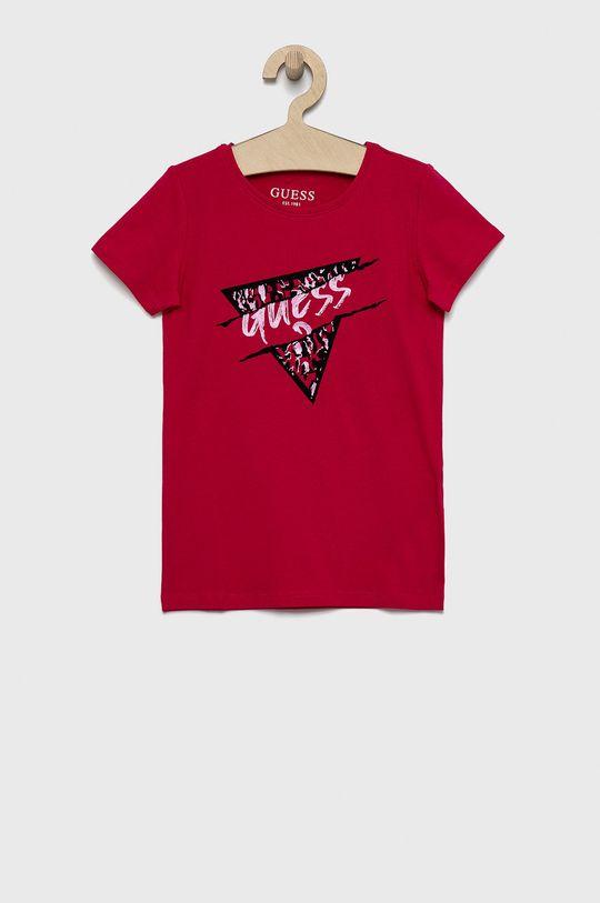 ostry różowy Guess - T-shirt dziecięcy Dziewczęcy