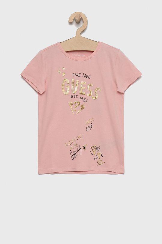 różowy Guess - T-shirt dziecięcy Dziewczęcy