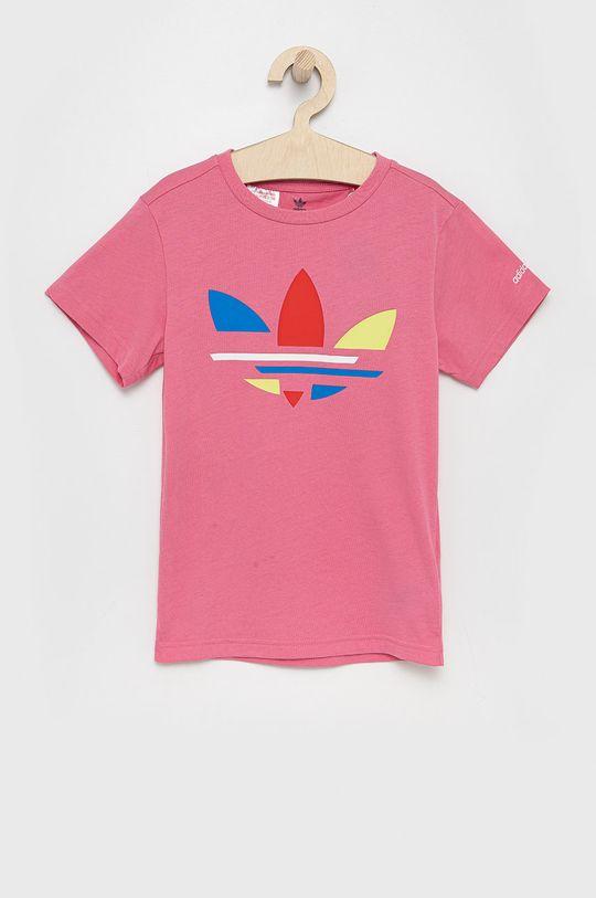 różowy adidas Originals - T-shirt bawełniany dziecięcy Dziewczęcy