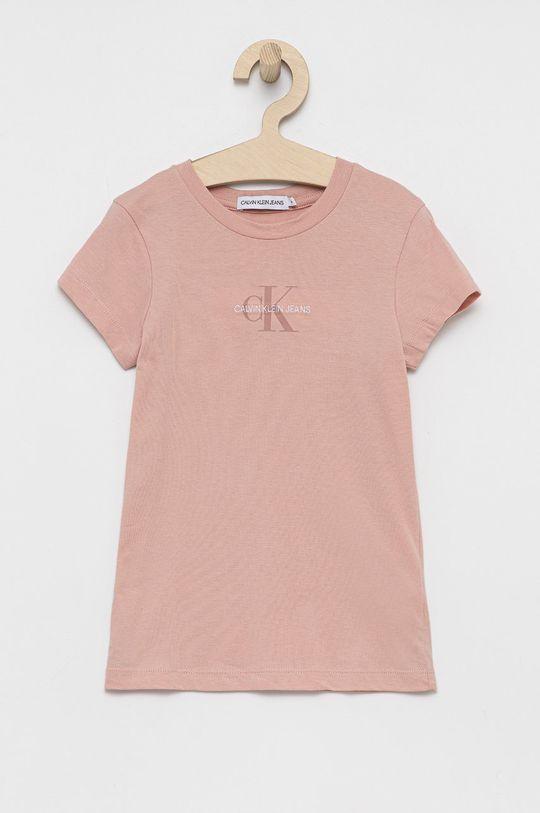 różowy Calvin Klein Jeans - T-shirt bawełniany dziecięcy Dziewczęcy