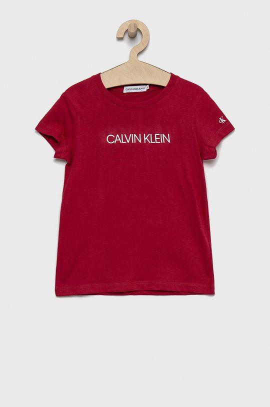 růžová Calvin Klein Jeans - Bavlněné tričko Dívčí