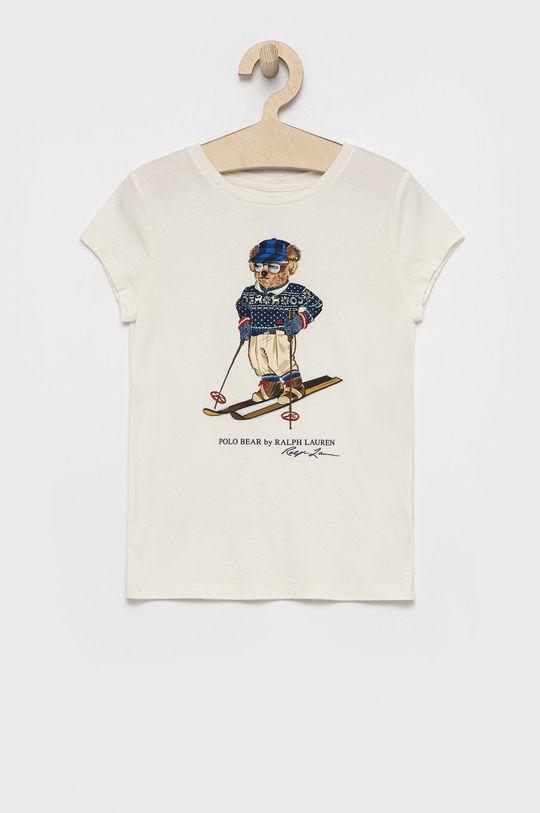 kremowy Polo Ralph Lauren - T-shirt bawełniany dziecięcy Dziewczęcy