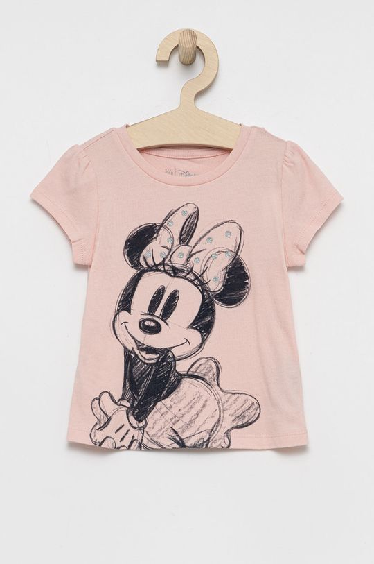 różowy GAP - T-shirt bawełniany dziecięcy x Disney Dziewczęcy