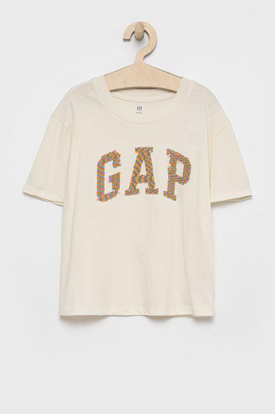 kremowy GAP - T-shirt bawełniany dziecięcy Dziewczęcy