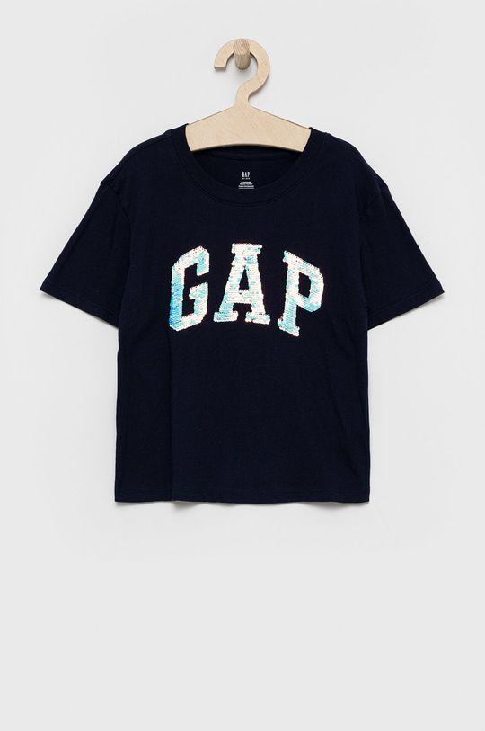 granatowy GAP - T-shirt bawełniany dziecięcy Dziewczęcy