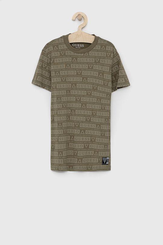 brązowa zieleń Guess - T-shirt dziecięcy Dziecięcy