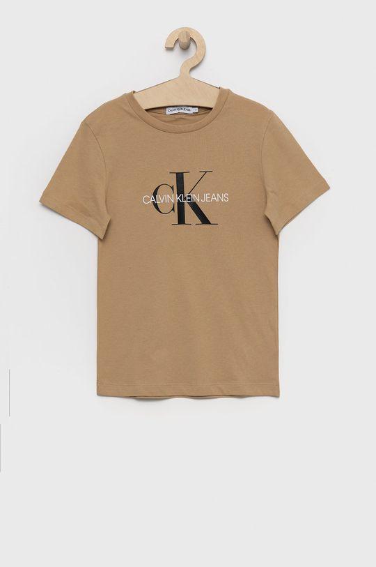 beżowy Calvin Klein Jeans - T-shirt bawełniany dziecięcy Dziecięcy