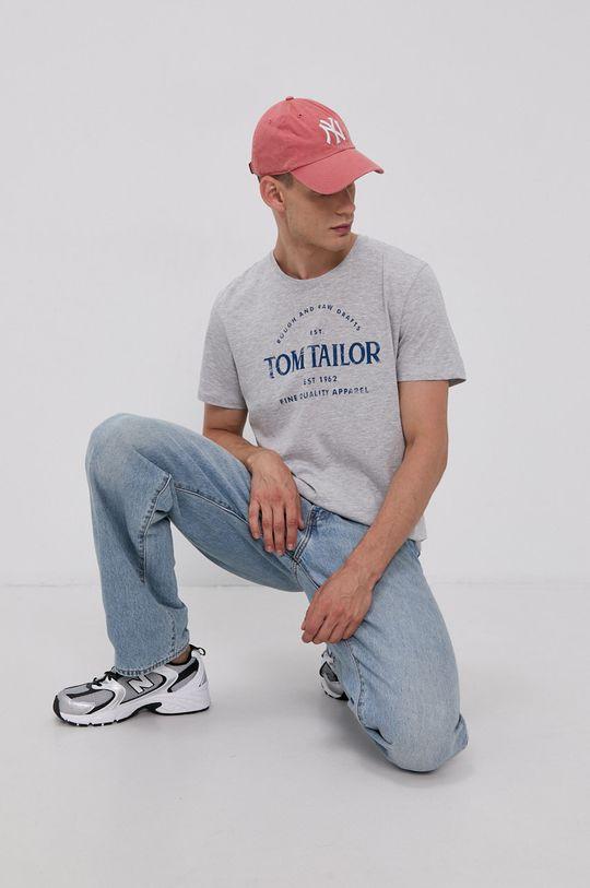 jasny szary Tom Tailor - T-shirt bawełniany Męski