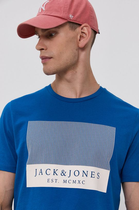 modrá Jack & Jones - Bavlněné tričko Pánský