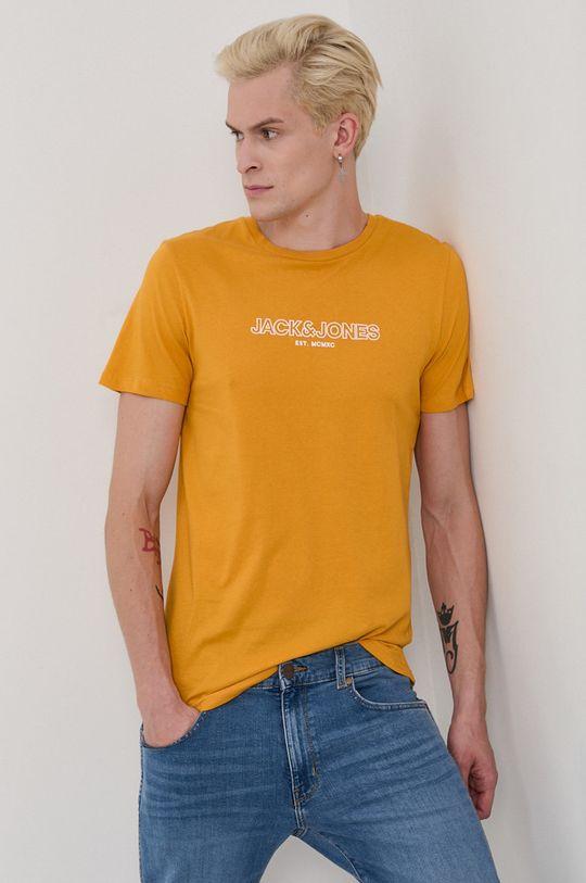 oranžová Jack & Jones - Bavlnené tričko Pánsky