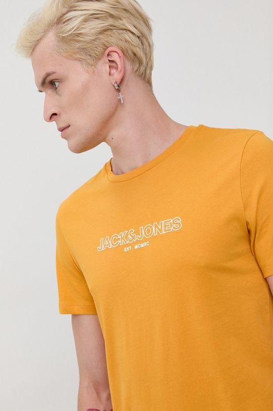 oranžová Jack & Jones - Bavlnené tričko