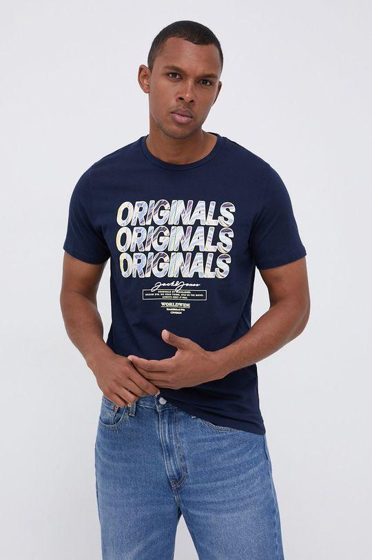 granatowy Jack & Jones - T-shirt bawełniany Męski