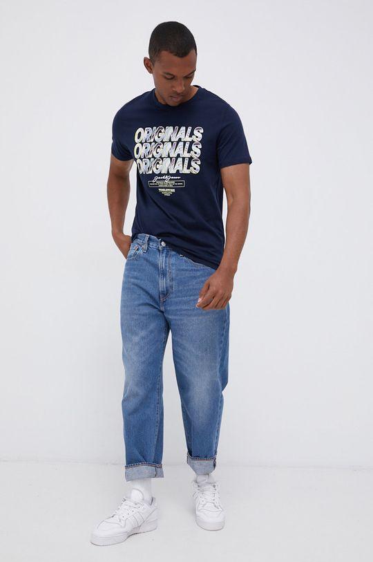 Jack & Jones - T-shirt bawełniany granatowy