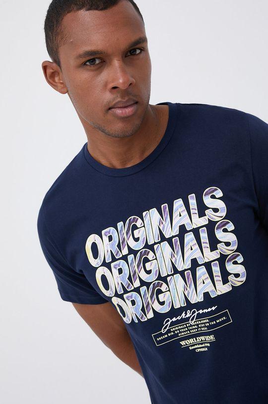granatowy Jack & Jones - T-shirt bawełniany