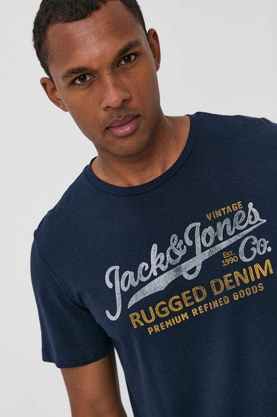 granatowy Premium by Jack&Jones - T-shirt bawełniany Męski