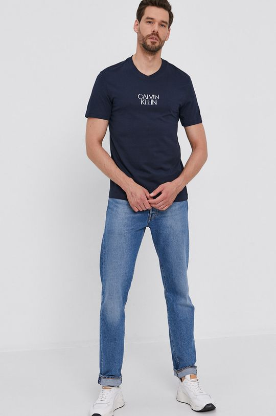 Calvin Klein - T-shirt bawełniany granatowy
