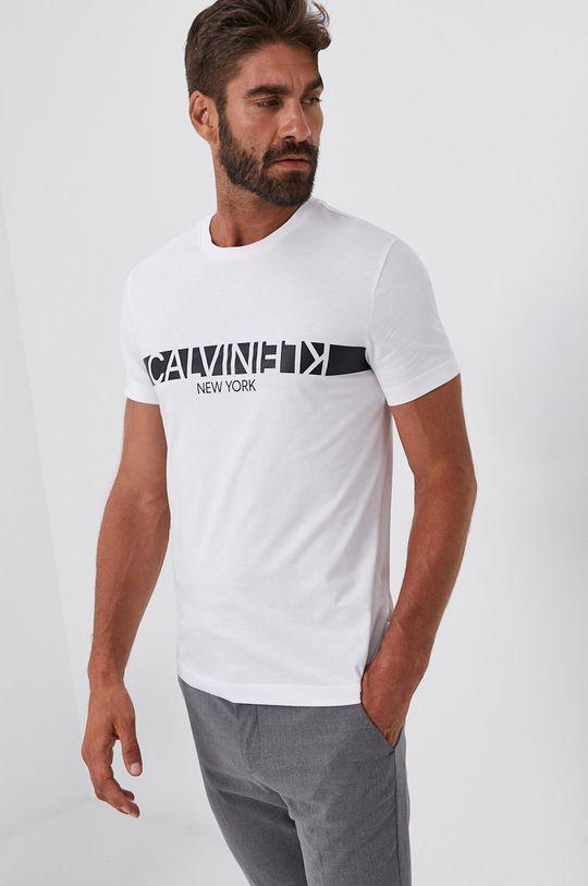bílá Calvin Klein - Bavlněné tričko Pánský