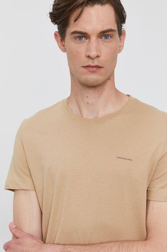 béžová Calvin Klein Jeans - Tričko (2-pack) Pánský