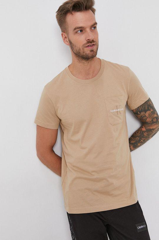 Calvin Klein Jeans - T-shirt bawełniany cielisty