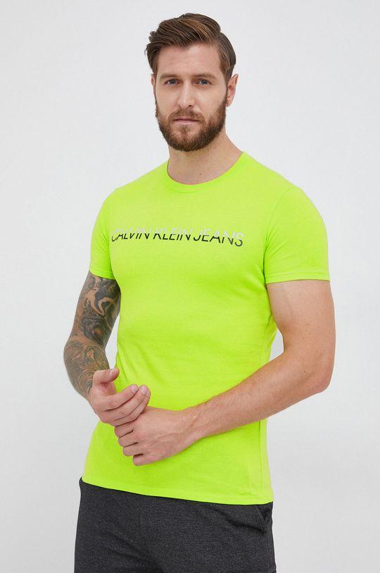 żółto - zielony Calvin Klein Jeans - T-shirt Męski