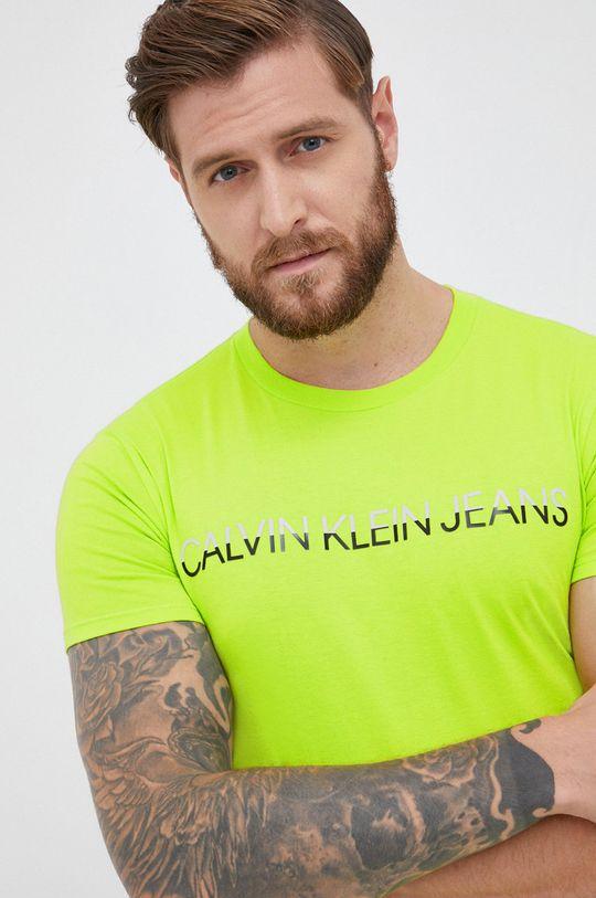 żółto - zielony Calvin Klein Jeans - T-shirt