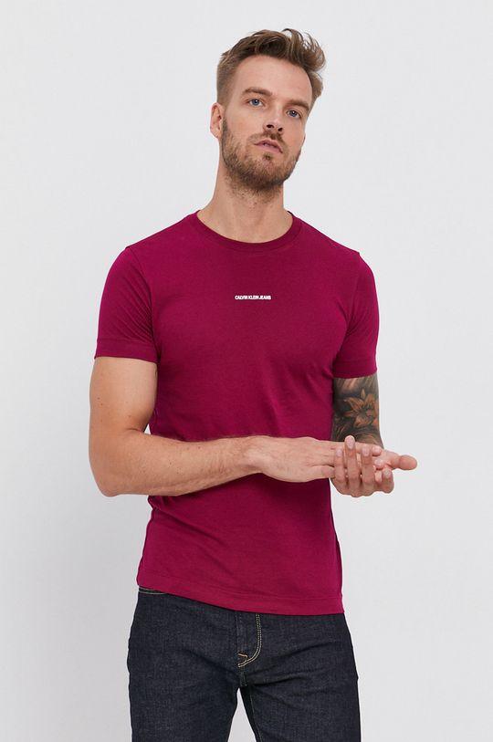 purpurowy Calvin Klein Jeans - T-shirt Męski