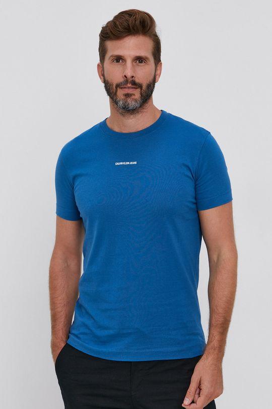 niebieski Calvin Klein Jeans - T-shirt Męski