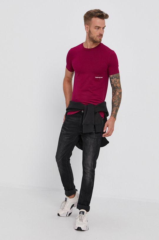 Calvin Klein Jeans - T-shirt bawełniany purpurowy